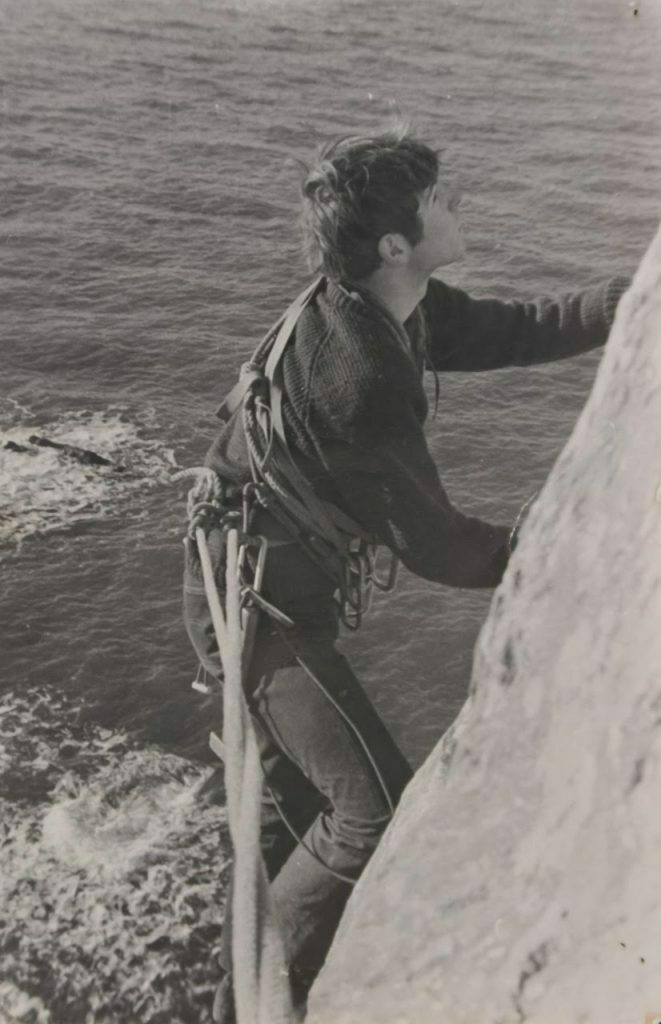 cli8mbing on Craig Hogarth seas cliffs, Anglesea ca 1966